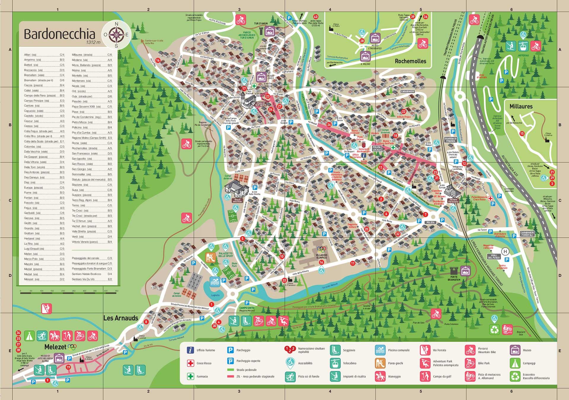Cartina di Bardonecchia: i luoghi, le frazioni, l'ospitalità e i servizi