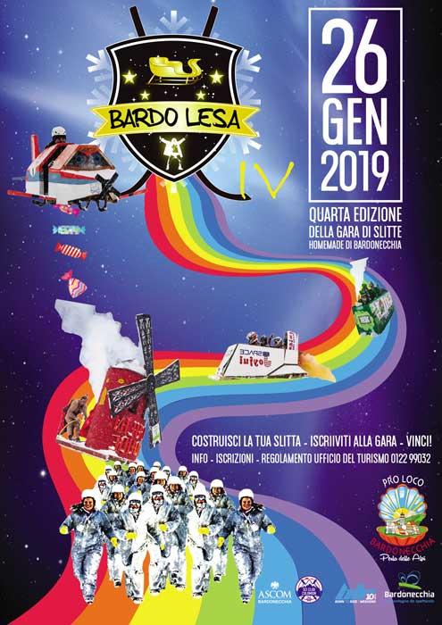 Bardo-Lesa 2019 a Bardonecchia: la gara di slitte homemade