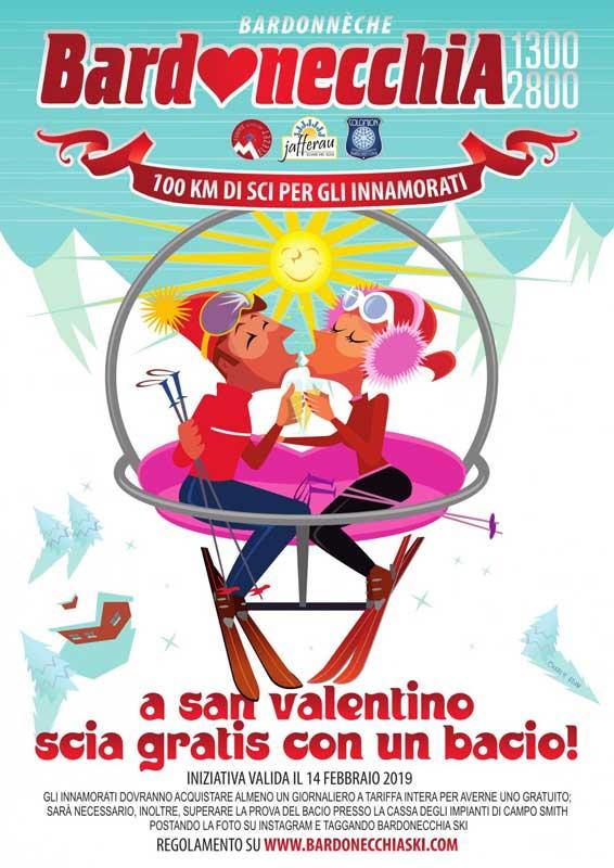 S.Valentino a Bardonecchia sulle piste da sci: scia gratis con un bacio!