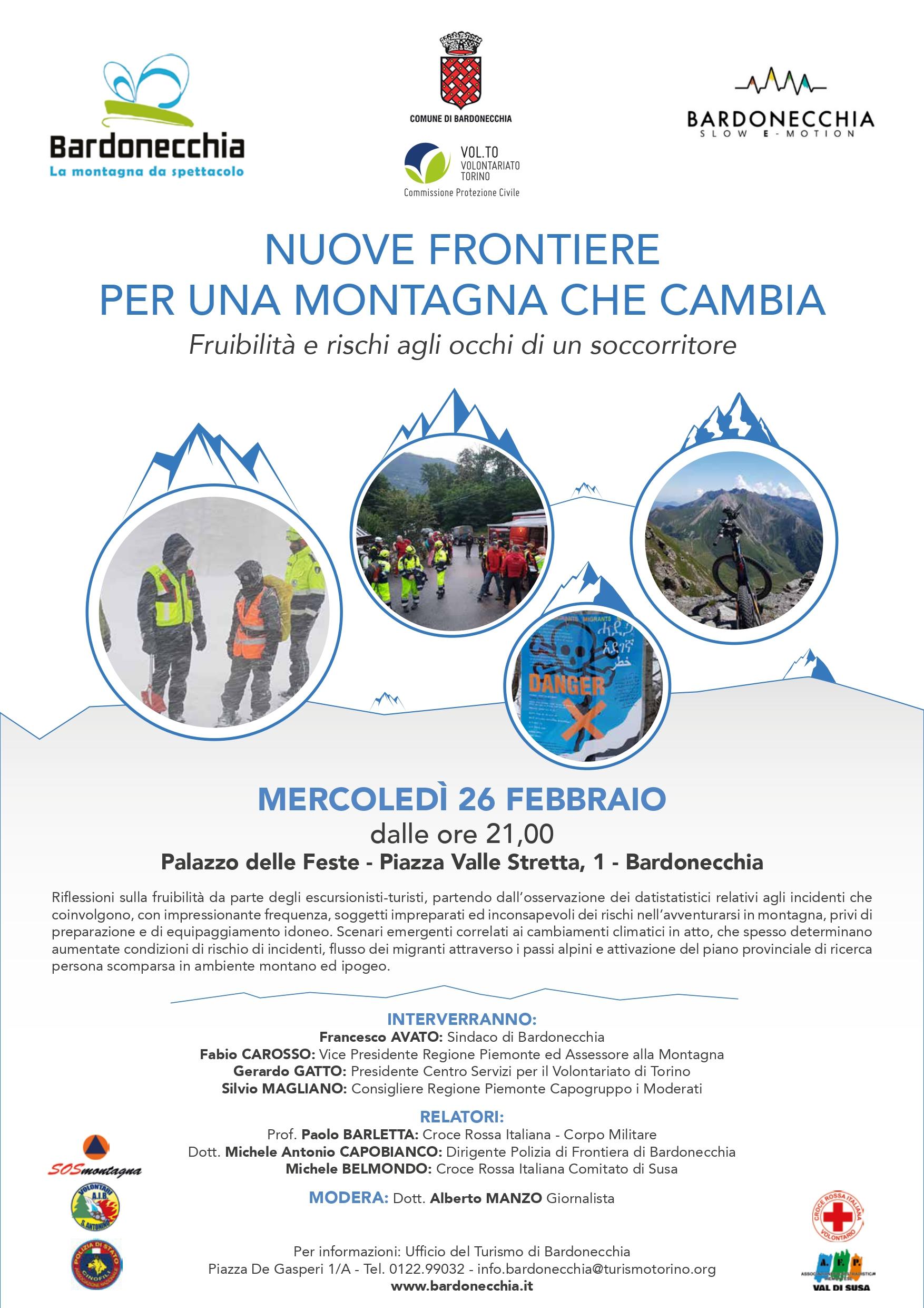 """Bardonecchia - Locandina Convegno """"Nuove frontiere per una montagna che cambia: fruibilità e rischi agli occhi di un soccorritore"""""""