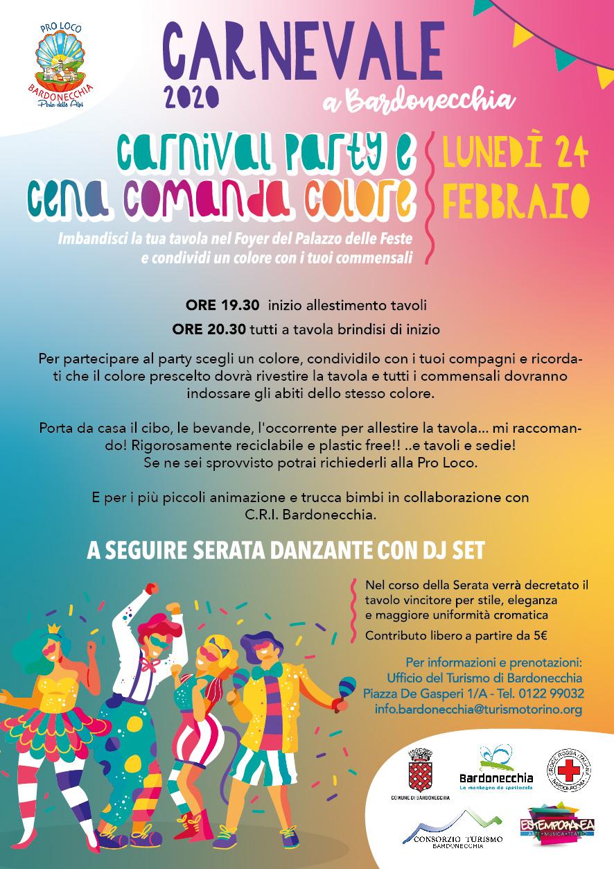 Carnevale 2020 a Bardonecchia - Carnival Party e Cena Comanda Colore