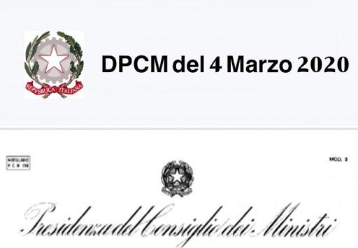 NUOVE MISURE A SEGUITO DEL DPCM DEL 04.03.2020