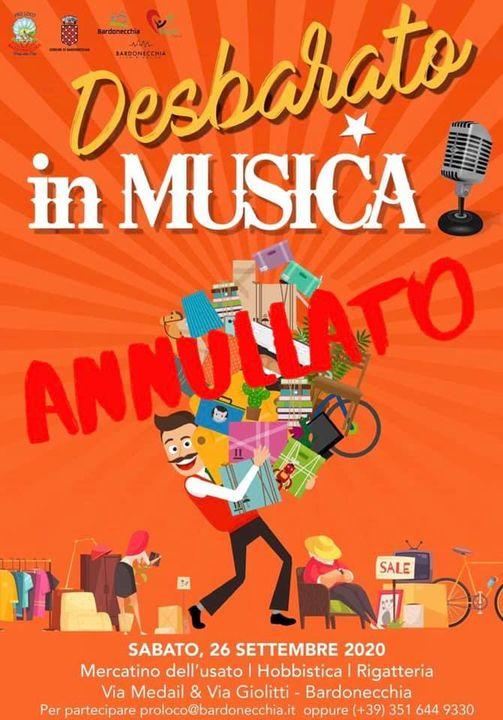 ANNULLATO IL MERCATINO DESBARATO, IN MUSICA